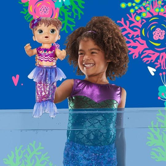 Baby Alive Shimmer 'n Splash Mermaid Baby Doll - Brown Hair image number null