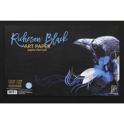 Jack Richeson Black Art Paper, 12 x 18 Inches, 135 lb, 50 Sheets