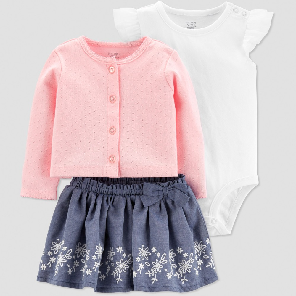 Baby Girls' Chambray Sweater and Skirt Set - Just One You made by carter's Pink/Blue/White Newborn