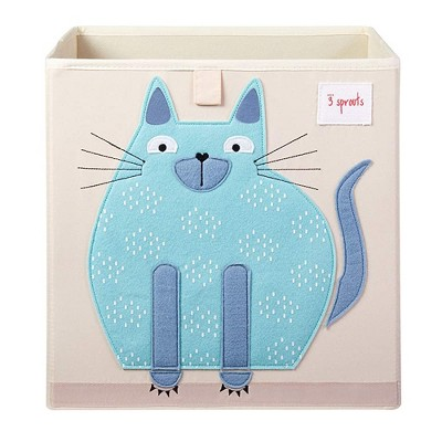 3 Sprouts Large 13 Inch Square Children's Foldable Fabric Storage Cube Organizer Box Soft Toy Bin, Blue Cat