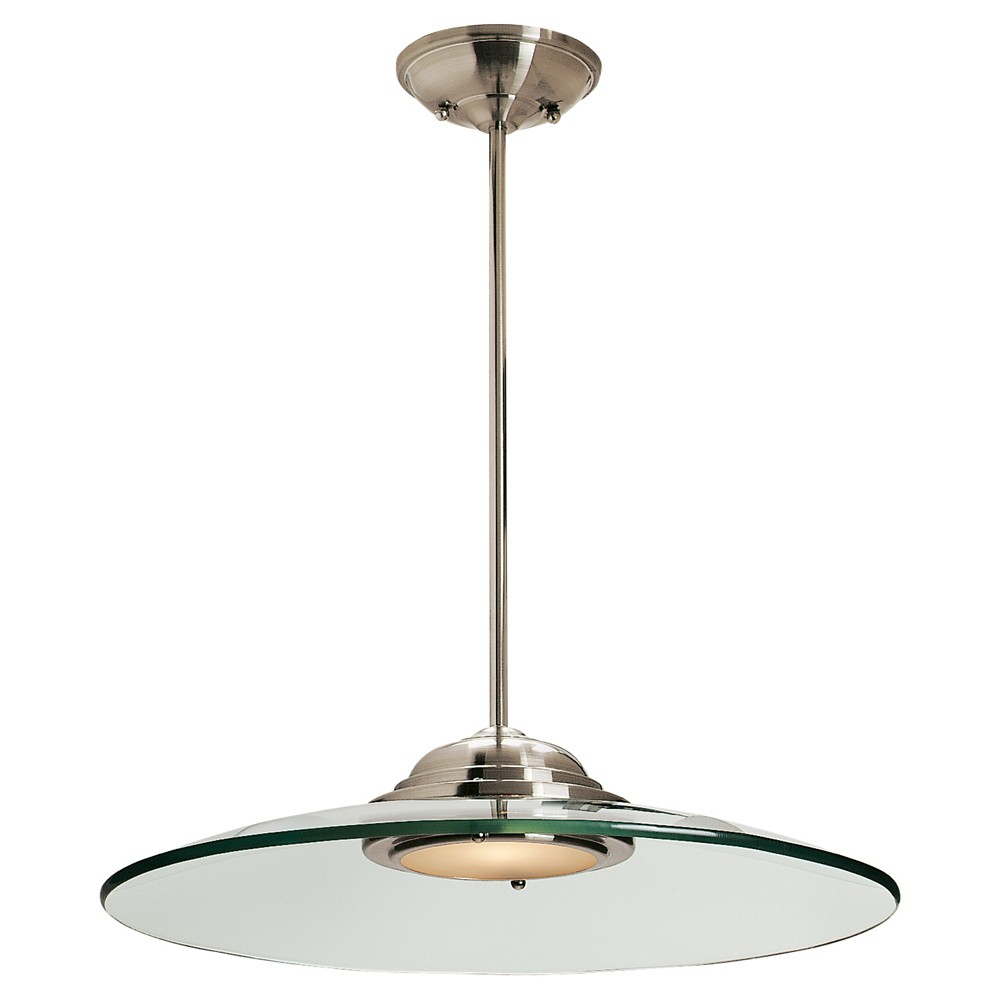 Phoebe Pendant with Clear Glass Shade - Brushed Steel (19), Silver