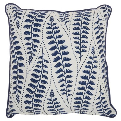 """18""""x18"""" Life Styles Printed Leaves Throw Pillow Blue - Mina Victory"""