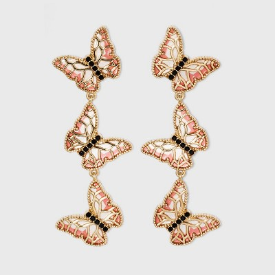 SUGARFIX by BaubleBar Stacked Butterfly Drop Earrings - Pink