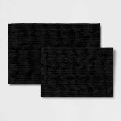 2pk Chenille Bath Rug Black - Room Essentials™