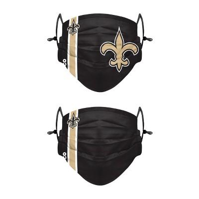 NFL New Orleans Saints Adult Gameday Adjustable Face Covering - 2pk