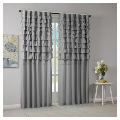 Marley Ruched Curtain Panel Gray (50 x84 )