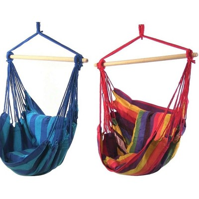 2 Hammock Chair Swings with Pillows - Oasis/Sunset - Sunnydaze Decor