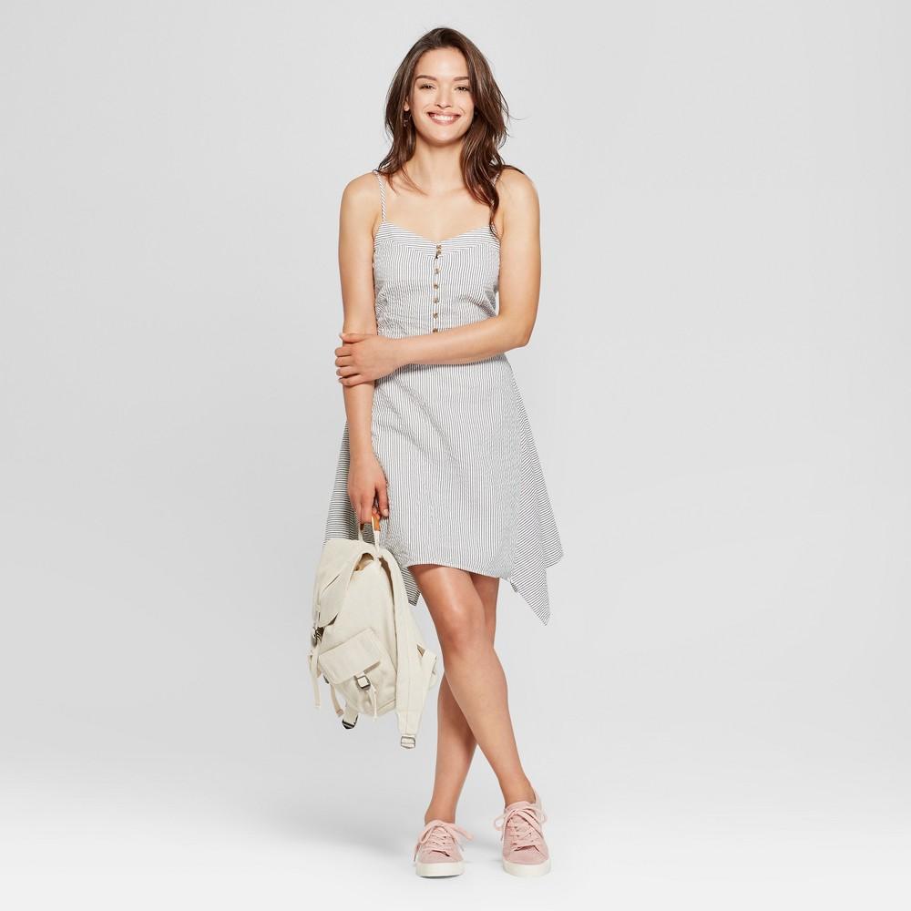 Women S Striped Asymmetrical Button Front Dress Universal Thread 8482 White S