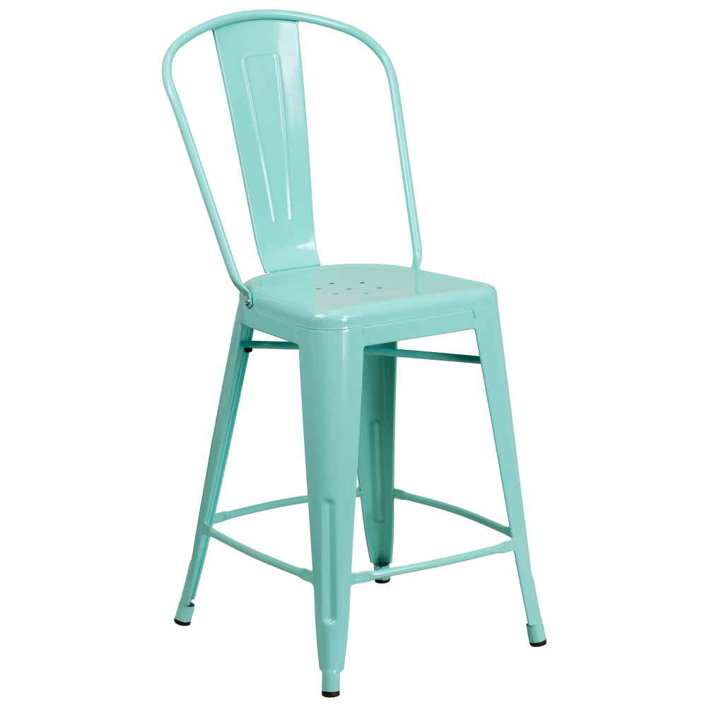 "Image of ""24"""" Riverstone Furniture Collection Metal Outdoor Stool Mint Green"""