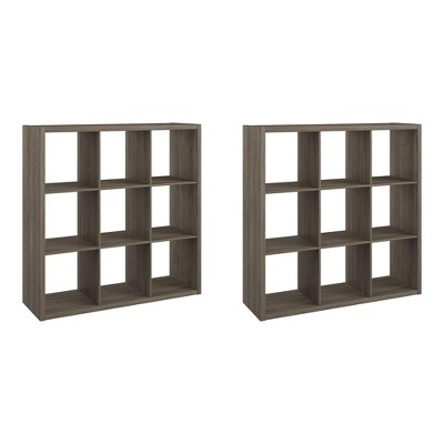 ClosetMaid 459000 Heavy Duty Decorative Bookcase Open Back 9-Cube Storage Organizer, Graphite Gray (2 Pack)