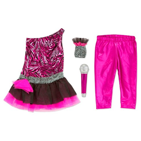Melissa & Doug Rock Star Role Play Costume Set (4pc) - Includes Zebra-Print Dress, Microphone - image 1 of 4