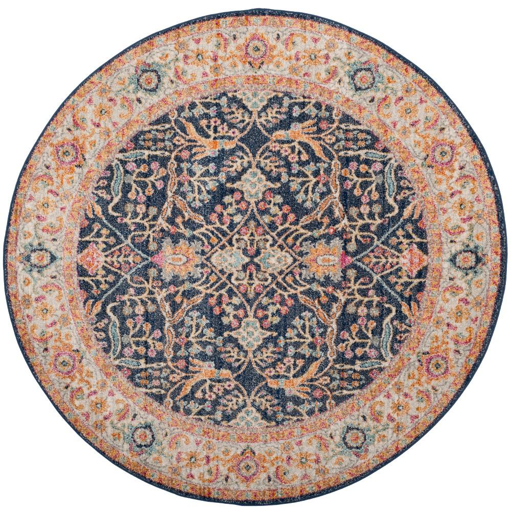 5' Floral Loomed Round Area Rug Navy/Cream - Safavieh, Blue