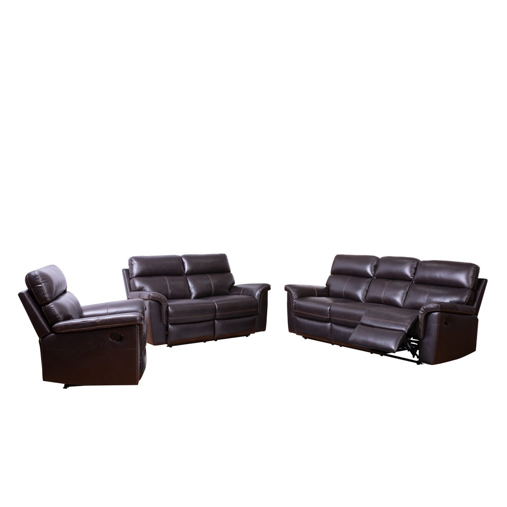 Image of 3pc Maxwell Top Grain Recliner Leather Reclining Set Brown - Abbyson Living