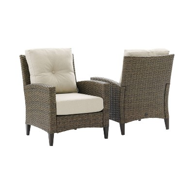 Rockport 2pc Outdoor Wicker High Back Arm Chair Set - Crosley