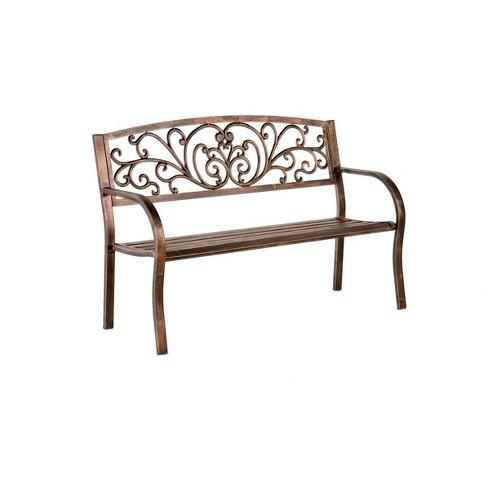 Steel Frame Outdoor Garden Bench With