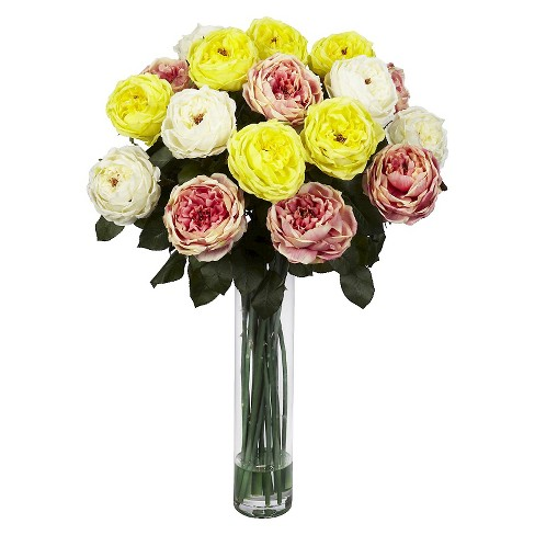 Nearly Natural Fancy Rose Silk Flower Arrangement - image 1 of 3