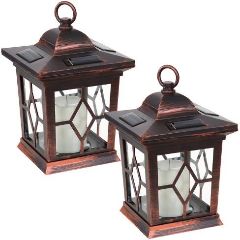 "Sunnydaze Outdoor Lucien Hanging Tabletop Solar LED Rustic Farmhouse Decorative Candle Lantern - 9"" - Copper - 2pk - image 1 of 4"
