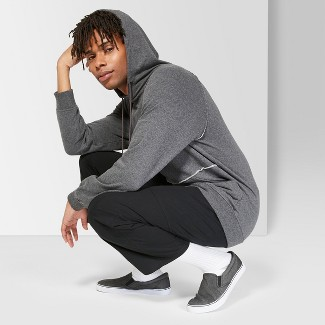 Men's Casual Fit Long Sleeve French Terry Raw Edge Raglan Hooded Sweatshirt - Original Use™ Charcoal S