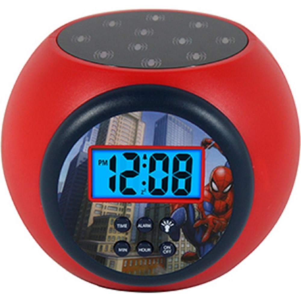 Marvel Spider-Man Lcd Projecting Alarm Clock, Black