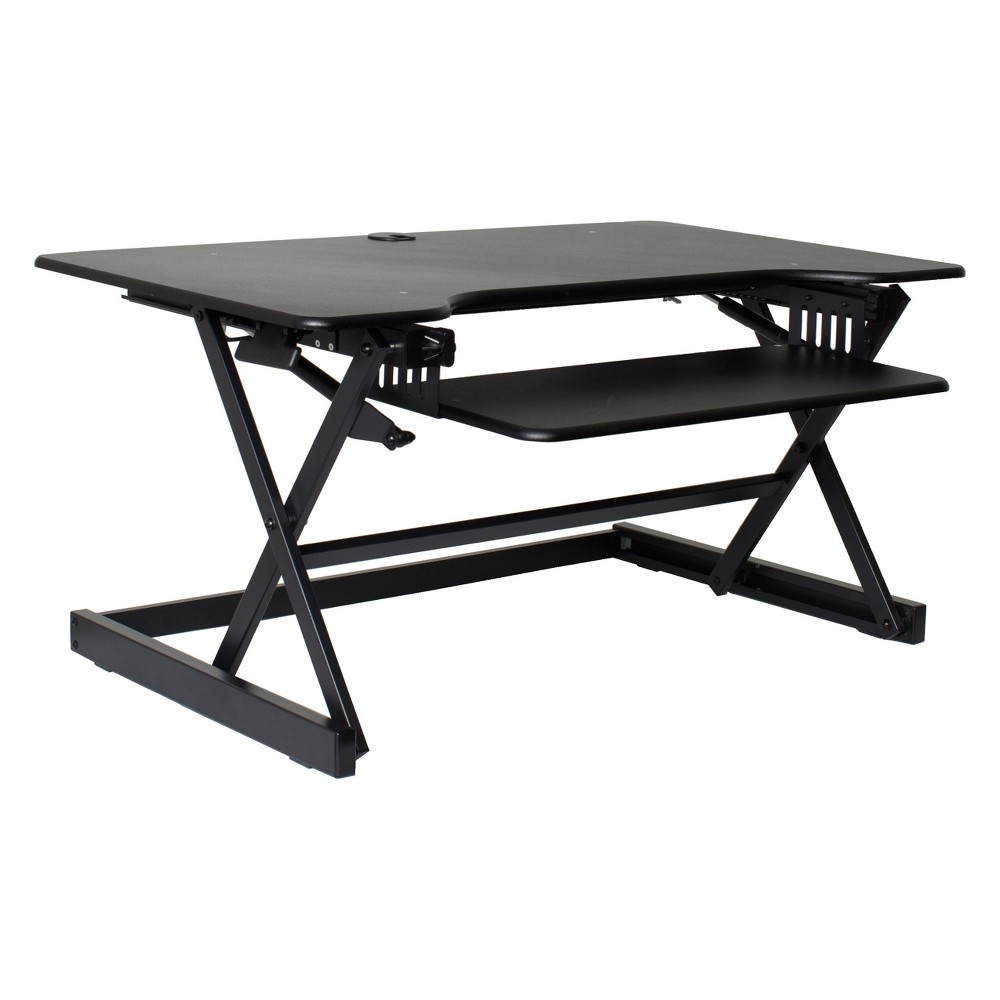 "Image of ""40"""" Height Adjustable Sit To Standing Desk Riser Black - Rocelco, Size: 40 inch"""