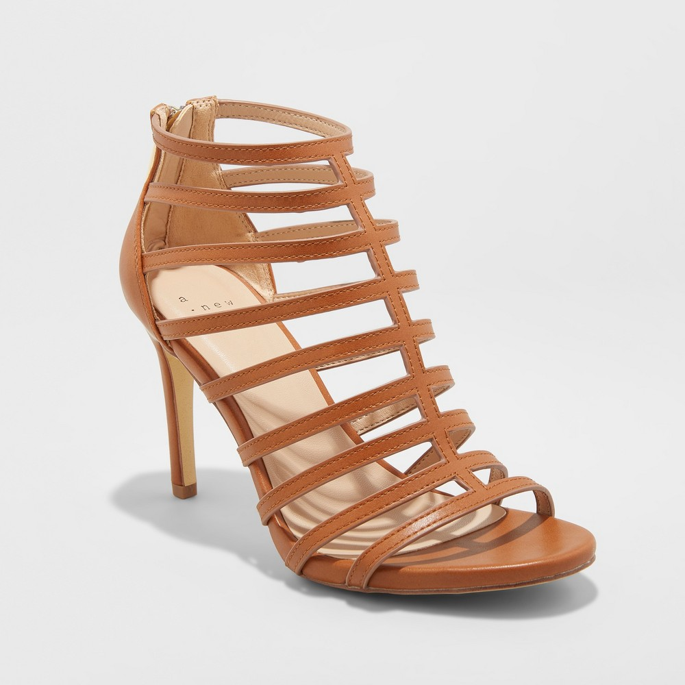 Women's Charlene Caged Heel Pumps - A New Day Cognac (Red) 5.5