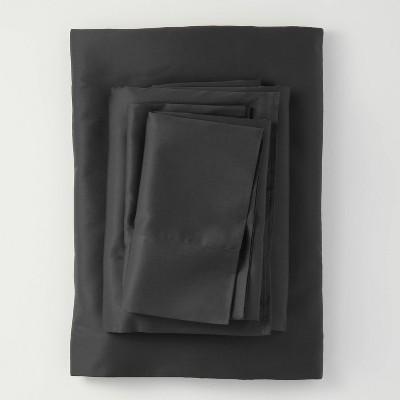 Queen 300 Thread Count Temperature Regulating Solid Sheet Set Washed Black - Casaluna™