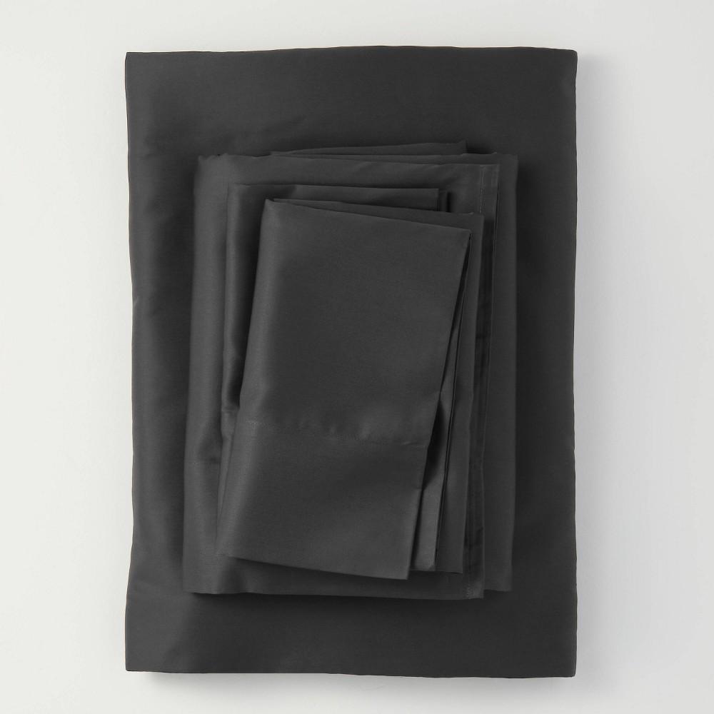 Queen 300 Thread Count Temperature Regulating Solid Sheet Set Washed Black Casaluna 8482