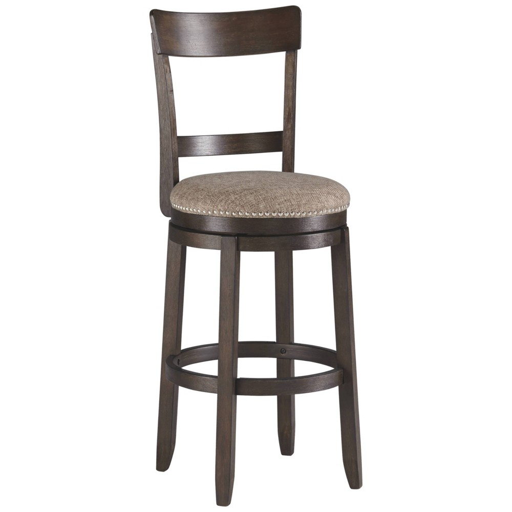 Set of 2 Drewing Tall Upholstered Swivel Barstool Brown - Signature Design by Ashley