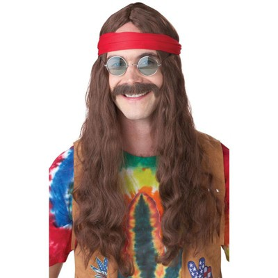 California Costumes Hippie Man Costume Wig & Moustache (Brown)