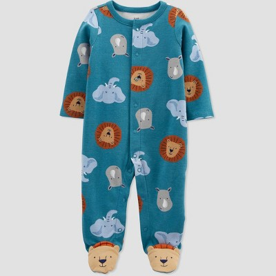 Baby Boys' Safari Interlock Footed Pajama - Just One You® made by carter's Blue Newborn