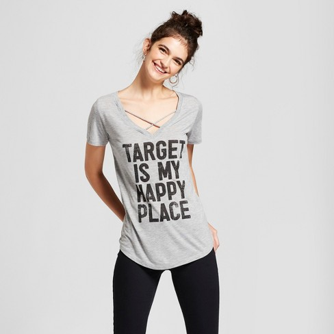 Women's Target is My Happy Place Short Sleeve Cross Front Drapey Graphic T-Shirt - Awake Gray - image 1 of 2
