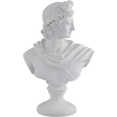 "Dahlia Studios Male 11 1/2"" High Matte White Bust Sculpture"