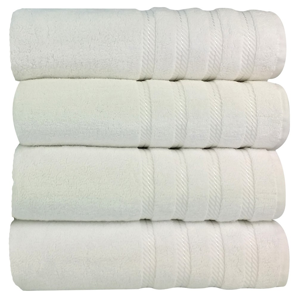 Image of 4pc Antalya Turkish Bath Towels Set White - Makroteks