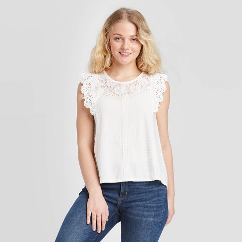 Women's Short Sleeve Lace Detail Knit Top - Xhilaration™ Off White - image 1 of 2