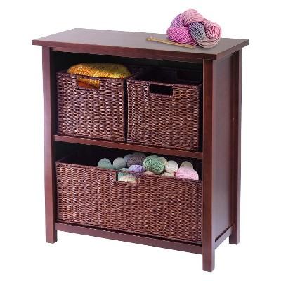 '30'' Storage Shelf with Baskets - Walnut - Winsome'