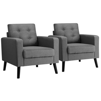 Costway Set of 2 Modern Tufted Accent Chair Linen Upholstered Armchair Single Sofa Blue\Beige\ Grey