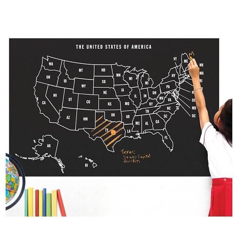 Us Map Chalkboard Peel & Stick Wall Decal Black 1 Sheet   Wallies