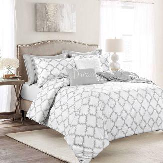 Full/Queen 7pc Ravello Pintuck Caroline Gro Comforter Set Gray - Lush Décor