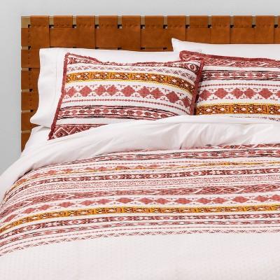 Full/Queen Printed Stripe Clip Dot Duvet Cover & Sham Set Cream - Opalhouse™