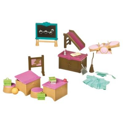 Li'l Woodzeez Miniature Furniture Playset 20pc - Classroom & Playground Set