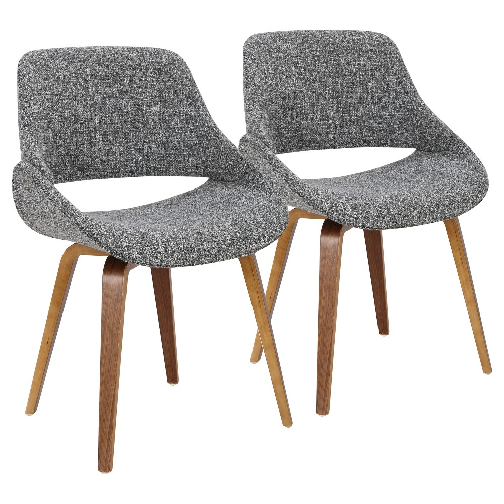 Fabrico Mid Century Modern Dining/Accent Chair Walnut with Gray Noise Fabric (Set of 2) - Lumisource