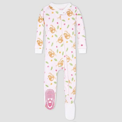 Burt's Bees Baby® Baby Girls' One Piece Sloth Footed Pajamas - White 3-6M