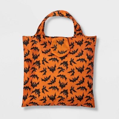 Orange with Bats Reusable Halloween Trick or Treat Bag with Pouch - Hyde & EEK! Boutique™