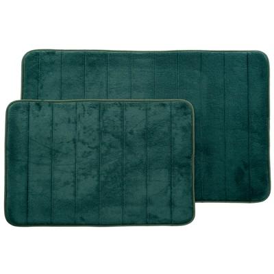 Stripe Memory Foam Striped Bath Mat Set 2pc Green - Yorkshire Home