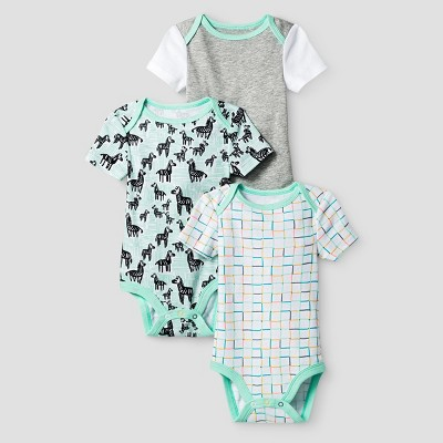 Oh Joy! Baby 3-Pack Bodysuit Set - Green 3-6M