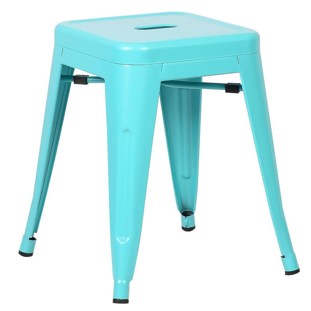 "Image of ""18"""" Franco Industrial Stool Aqua - Poly & Bark, Blue"""