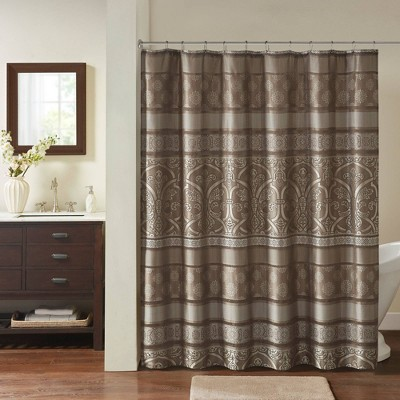 Dennie Jacquard Shower Curtain Brown
