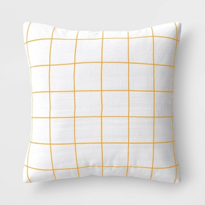 Square Grid Pillow White/Yellow - Room Essentials™
