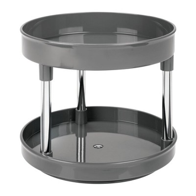 mDesign 2 Tier Spinning Lazy Susan Turntable Storage Tray
