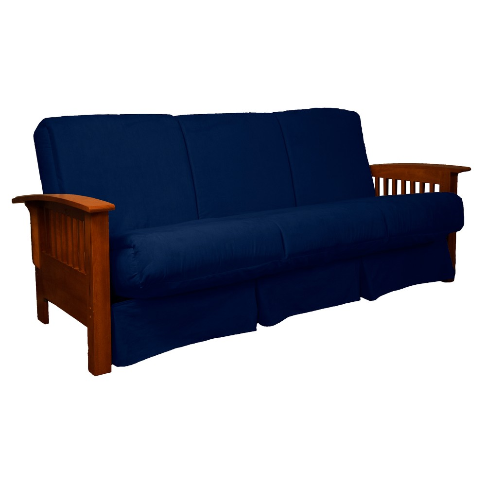 Craftsman Perfect Futon Sofa Sleeper - Walnut Wood Finish - Epic Furnishings, Blue